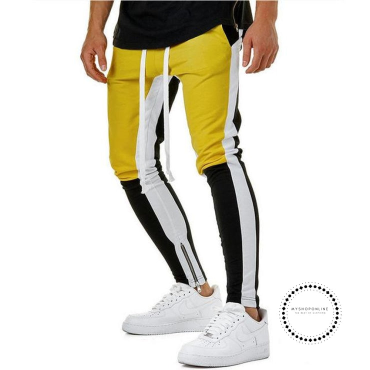 Pants Waist Banding Panelled Side Stripe Zip Pockets Color Contrast Retro Trousers Joggers Yellow