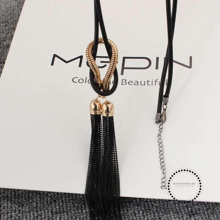 Pendant Necklace Tassel Long Winter Sweater Chain Accesorios