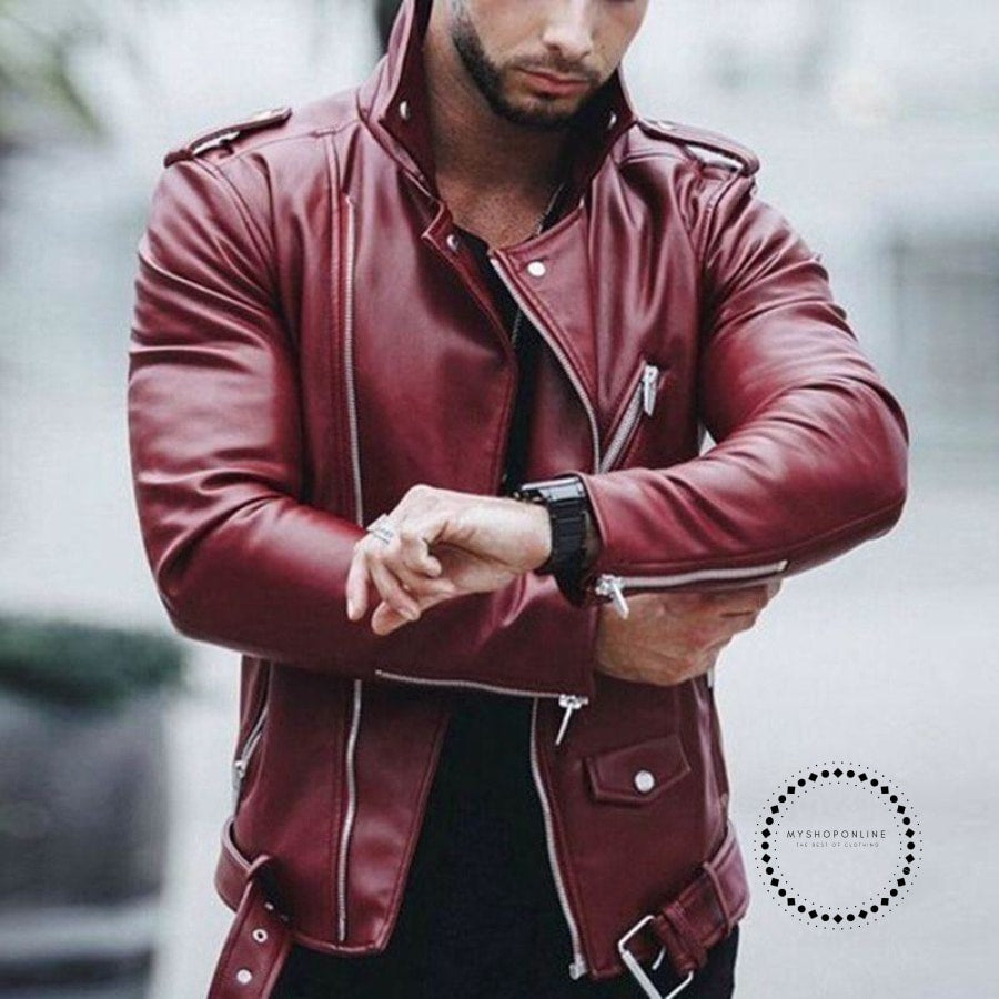 01eb383b0 Plus Size Leather Jackets Mens Autumn Winter Fashion Fit Stand Collar  Jacket Winter Zipper Patchwork Faux Leathers Coat