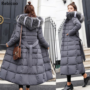 Cotton Hot Sale Solid Full Pockets Zippers Female Long Coat  New Slim Parka Padded Jacket Winter Thick Warm Windbreaker