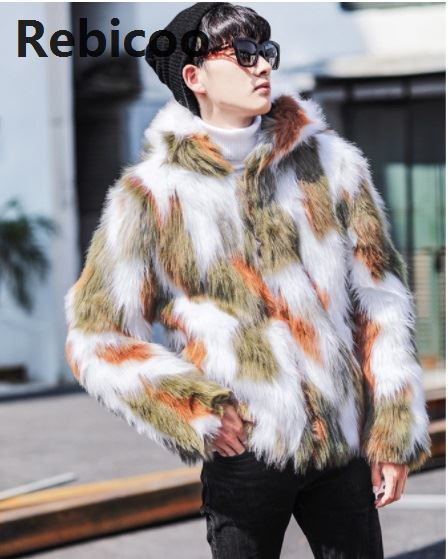 Winter Fashion Fur Coat Men's Clothing Thick Faux Fur Zipper Jacket Hooded Jacket  men's hoodies coats man warm clothes oversize