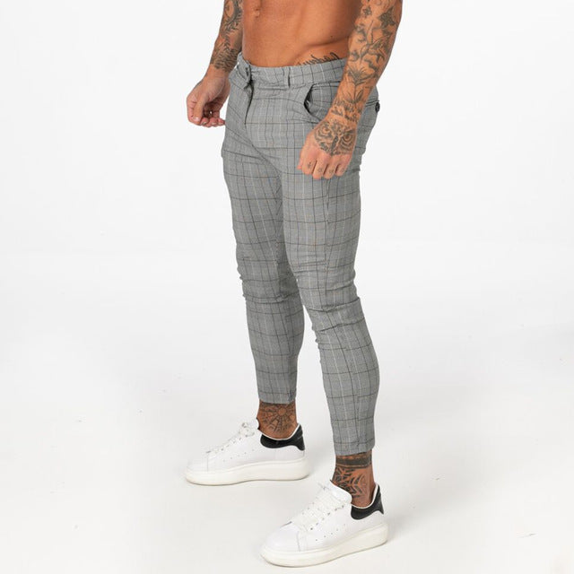 big discount sale real deal hot-selling authentic Men's Stretch Chinos Trousers Skinny Fit Chino Pants for Men Plaid Ankle  Length Comfy Stretchy Chino Slim Fit