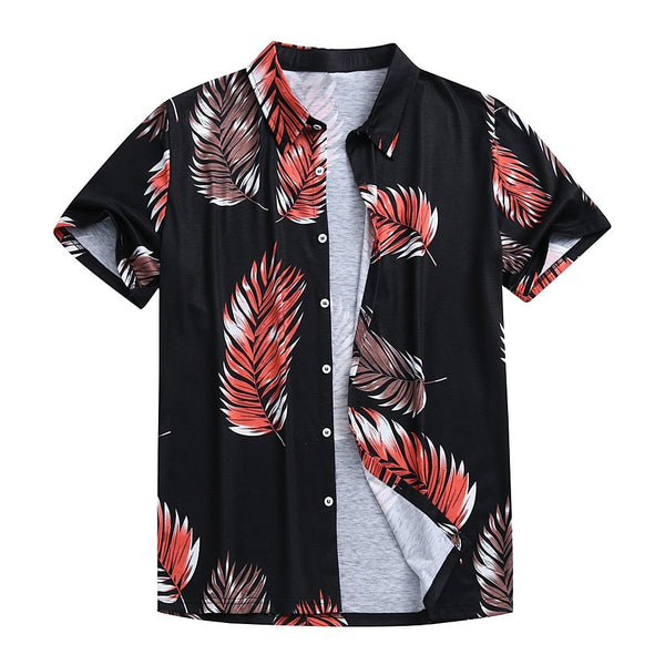 Casual Shirt Summer Style Palm Tree Print Beach Hawaiian Shirt Men Casual Short Sleeve Hawaii Shirt Chemise Homme