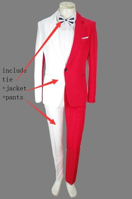 Red White Splicing Men's Suits Jacket Trousers 2 Pieces Set Nightclub Magician Clown Performance Costume Host Stage Outfit