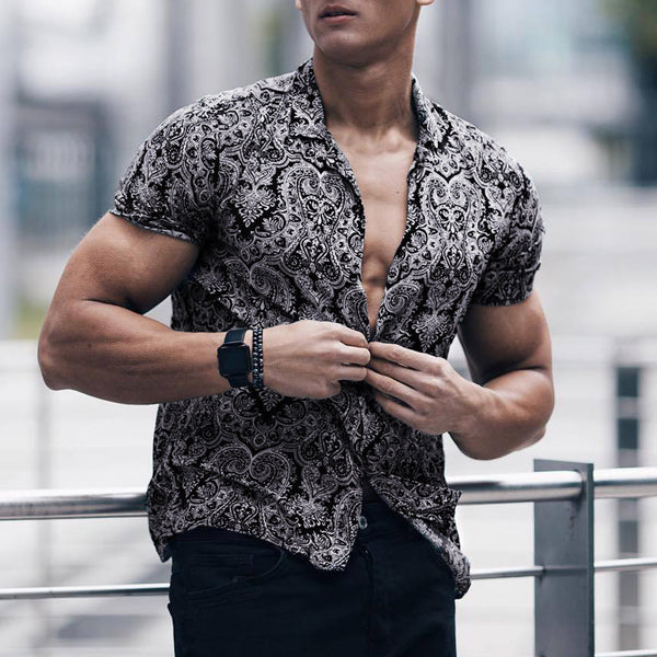 Men Shirt Multi Color Lump Chest Pocket Short Sleeve Round Hem Loose Shirts Camisas masculina Black shirt