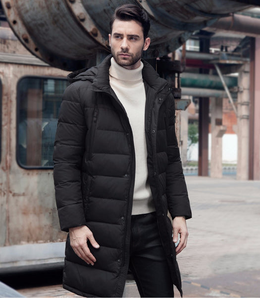 New Clothing Jackets Business Long Thick Winter Coat Men Solid Parka Fashion Overcoat Outerwear