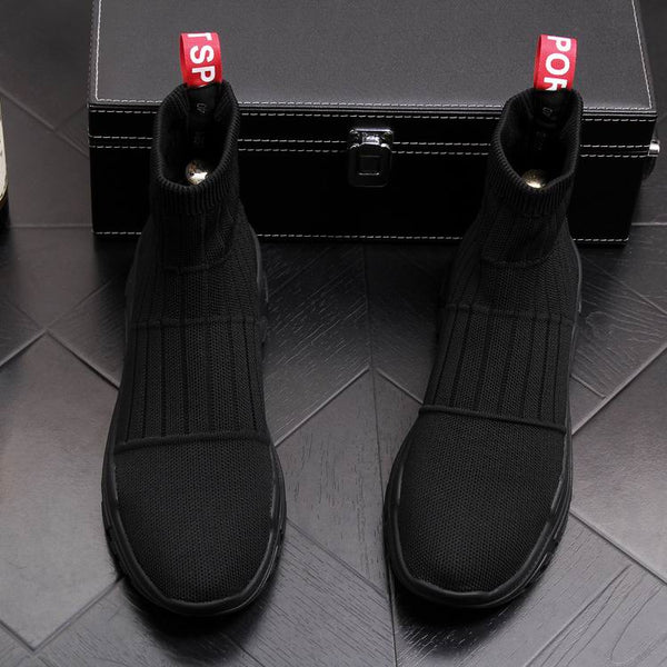 Luxury Mens Yellow Casual Comfort Shoes High Top Socks Shoes Man Breathable Short Cowboy Boots Black Trending Ankle Boots