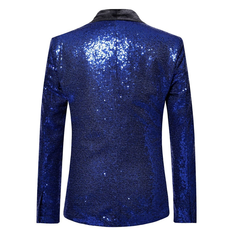 Black Sequin One Button Shawl Collar Suit Jacket Men Bling Glitter Nightclub Prom DJ Blazer Jacket Men Stage Clothes for Singers