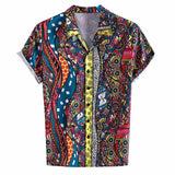 Mens Ethnic Short Sleeve Beach Hawaiian Shirt Tropical Summer Printing Hawaiian Button Down Shirts Plus Size Trend Dress Shirts
