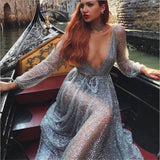 Sexy Party Gold Silver Dress Hot Drilling Sequined Women Dress Mesh Overlay Maxi Dress Summer Backless Long Sleeve V-neck Dress