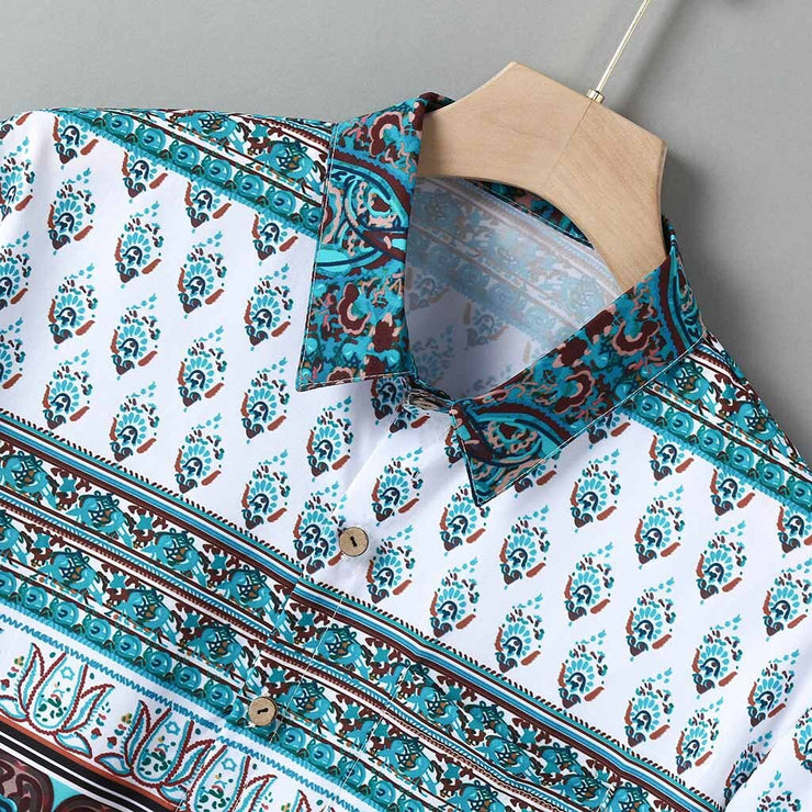 Mens Multi Color Lump Chest Pocket Short Sleeve Round Hem Loose Shirts Print Fashion Wild Casual Blouse