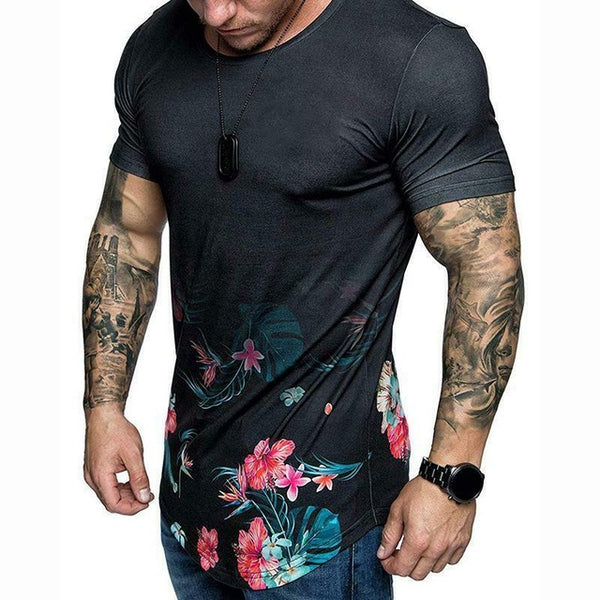 Summer New Luxury Men's Short Sleeve T-Shirts Casual Stylish Flower Slim Fit tShirt Top M-2XL