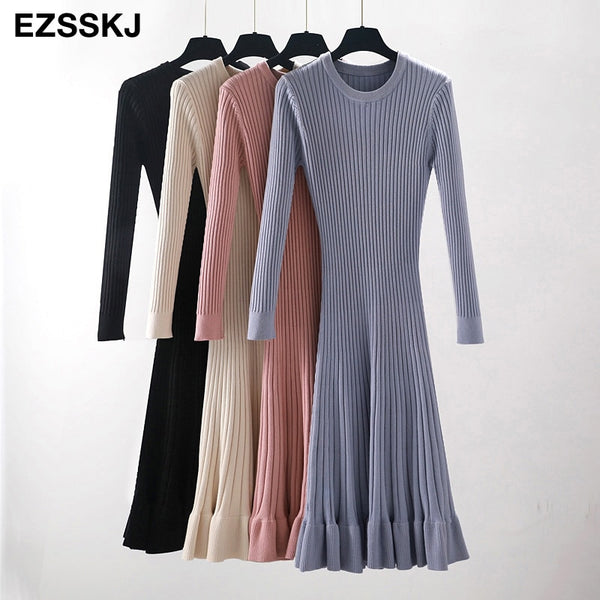 autumn winter thick mermaid maxi sweater dress women o-neck long sweater dress elegant female a-line slim sexy knit dress
