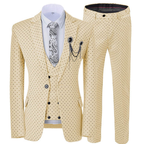 new Men's Wedding Suit Three Pieces dots Printed Slim Fit Notch Lapel Tuxedos Tailcoat Best Men Double Breasted Vest