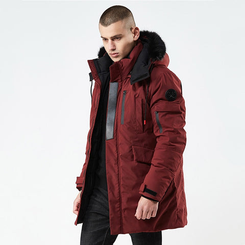 Winter Casual Long Style Hooded Epaulet Cotton Padded Jackets Men Thick Hat Windproof Fashion Men Parka Pockets Coats