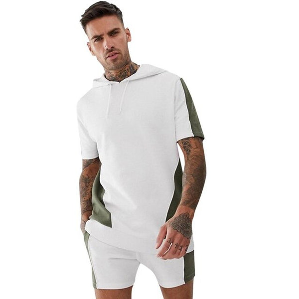 Summer Men Set 3xl Sporting Suits Short Sleeve T Shirt+Shorts Quick Drying 2 Piece Set Casual Male Patchwork Tracksuit Clothing