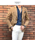 Suede Blazer Men Slim Fit 2 Button Blazer Men Autumn Winter Chaqueta Hombre Formal Mens Stylish Blazer Xadrez Masculino 4xl
