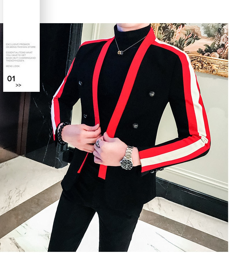 Blazer Hombre Men Suit Coat Male Trend Hip-hop Blazers Suit Autumn Night Hairstyle Division Personality Loose Coat Jacket Tide
