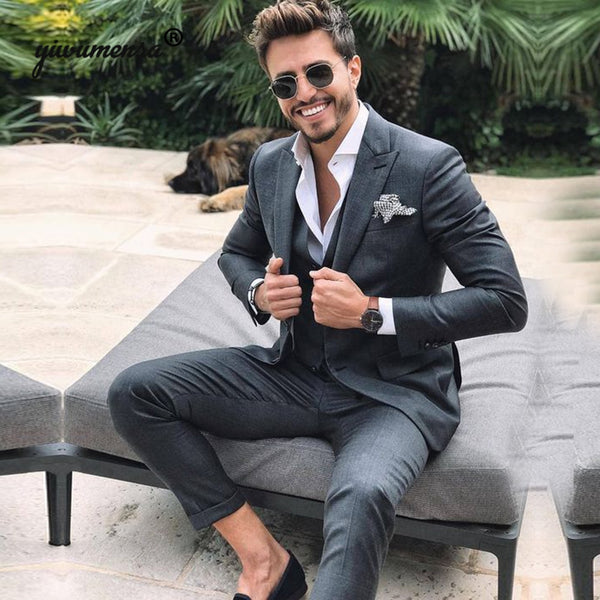Grey Men Suits For Wedding trajes para hombre suits men 2019 Custom Made 3 Pieces Jacket+vest+Pants Prom Party Gowns Suit Man