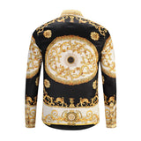 Luxury Royal Social Shirt Men Black Gold Print Man Long Sleeve Shirt  Night Club Casual Slim Fit Shirts Streetwear Camisa