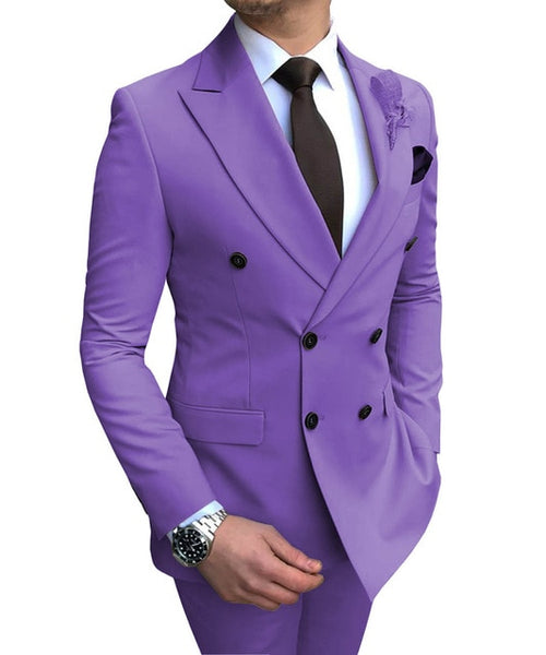New Beige Men's Suit 2 Pieces Double-breasted Notch Lapel Flat Slim Fit Casual Tuxedos For Wedding(Blazer+Pants)