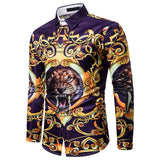 Luxury Royal Mens Shirts Casual Slim Fit Cross Gemstone Printed Long Sleeve Slim Fit Chemise Homme Men Prom Party Tuxedo Shirt