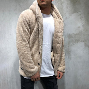 Luxury men's Sweater warm hooded sweater coat jacket Men's Autumn Winter Casual Loose Double-sided Plush men's sweater Coat Top