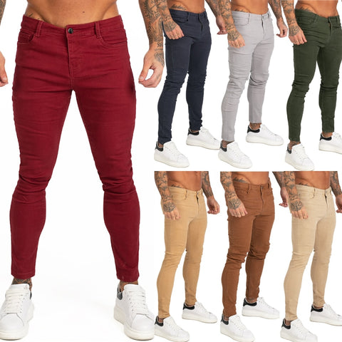 Red Jeans Men Colored Jeans Skinny Elastic Waist Super Spray on Skinny Leg Jeans Pants for Men New Solid Color