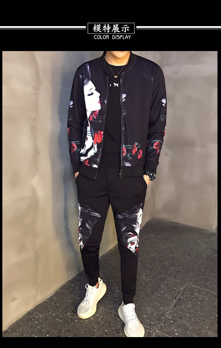 Tracksuit Male Tracksuit Asian Size Moda Hombre  New Men's Set Autumn Man Sport 2 Piece Sets Sport Suit Jacket + Pants 5xl