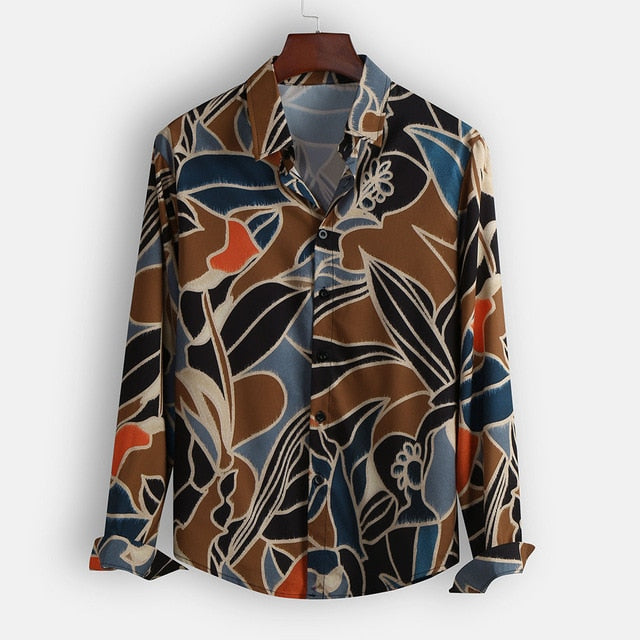 Printing Ethnic Style Men Shirt Long Sleeve Lapel Loose Vintage Blouse Ladies Beach Hawaiian Shirts Men Plus Size