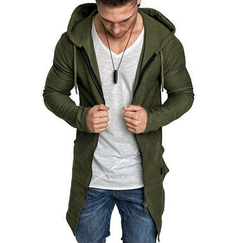 Shujin New Mens Hooded Solid Trench Coat Jacket Cardigan Long Sleeve Outwear Male Autumn Winter Slim Fit Long Coat Tops