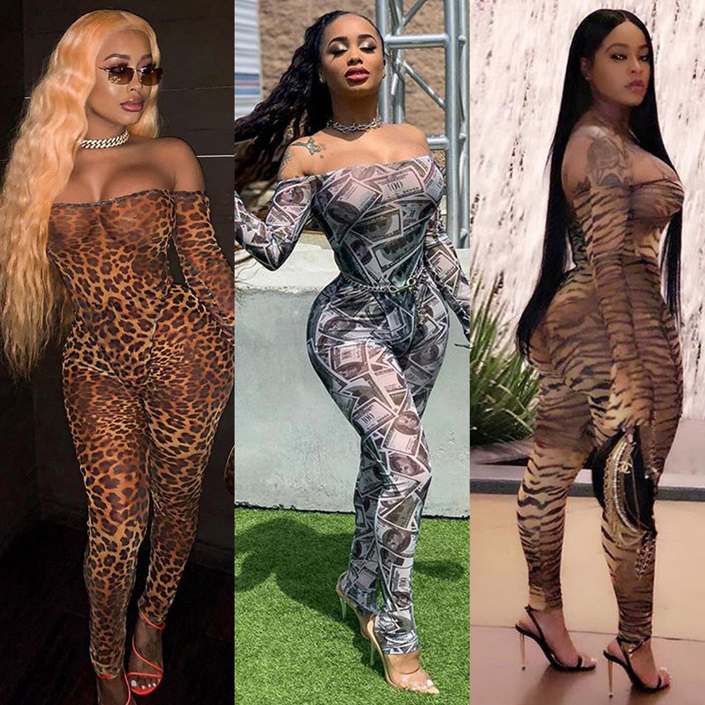 Sexy Women Off Shoulder Long Flare Sleeves Zebra Leopard Dollar Tiger Print See Through Casual Party Jumpsuit Clubwear