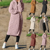Vertvie Women Knitted Cardigan Coat Autumn Loose Hooded Long Cardigan Female Long Sleeve Vintage Sweater Outwear Plus Size Coats