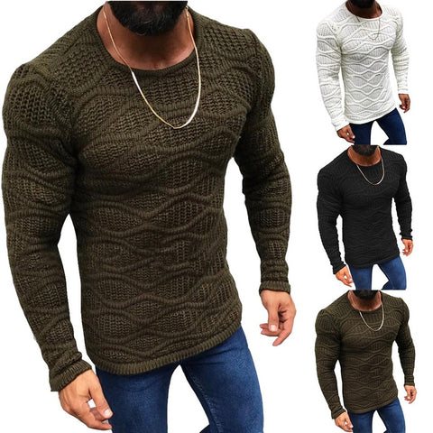 Wenyujh Men's Autumn Knitted Sweater Long Sleeve Slim Fit Solid Color Sweater Winter New Fashion Warm Sweaters Male Tops