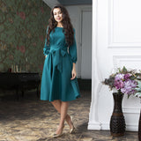 Bandage Party Dress Vintage Bow Tie Women Dress Ladies Lantern Sleeve o Neck Elegant Dress Autumn Fashion Knee Length Dress