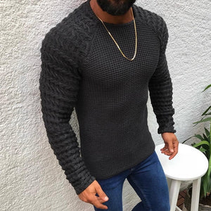 New Men Casual Neck Pullover Sweaters Autumn Winter Casual Slim Fit Long Sleeve Cable Knitwear Sweater Pullover
