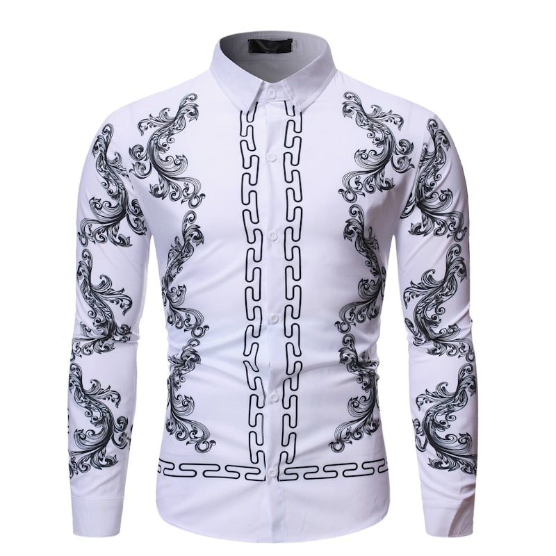 Floral Shirt Men Fashion Casual Luxury Royal Court Long Sleeve Printed Shirts Men Dress Social Business Chemise Homme Streetwear