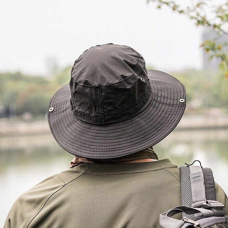 Panama Bucket Hat Boonie Man and Woman Hunting Fishing Outdoor Cap Wide Brim Military Unisex Sun  Hats Round Top Sunscreen