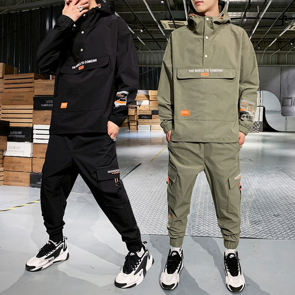 Men's Hooded Jacket+Pants 2PC Sets mal Workwear tide card loose Pullover front pocket coat& Long Pants mal Clothing 4XL