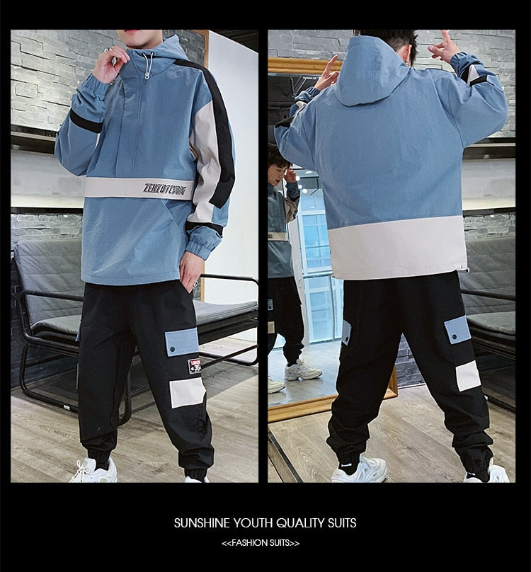 Fashion 2 Pieces Sets Mens Fashion Cargo Pullover Tracksuit With Pockets Military Jackets And Loose Fit Elastic Waist Pants Hip