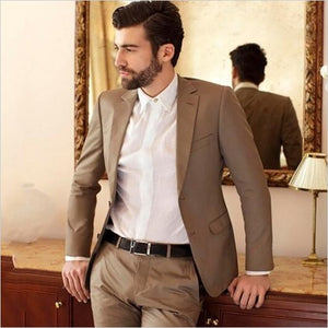 Latest Design Brown Suit Men Wedding Suits For Men Groom Custom Slim Fit Smart Business Street Prom Blazer costume homme 2pcs