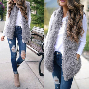Winter waistcoat for women Plush chalecos mujer Faux Fur Solid Casual Sleeveless Warm Vest Jacket warm cashmere cardigan