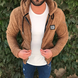 Jacket Men's Sweater Warm Hooded Sweater Coat Jacket Men's Autumn Winter Casual Loose Double-Sided Plush Men's Sweater Coat Top