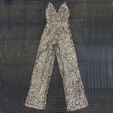 Fashion Golden Spaghetti Strap Zippers Jumpsuit Luxury Sequin Design Women Celebrity Party Jumpsuit Wholesale