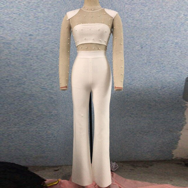 Sexy Mesh White Long Sleeve Beading Long Jumpsuit 2019 New Arrivals Fashion Bandage Jumpsuit Party Jumpsuit Wholesale