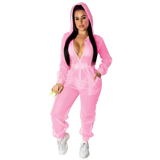 Fluorescent Sheer Organza Hooded Jumpsuit Zipper V Neck Long Sleeve Casual Loose Romper Women Sexy Night Club Overalls