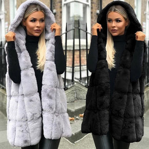 Women Winter Thicken Fluffy Plush Vest Open Front Hooded Mid-Length Waistcoat Oversized Loose Solid Color Jacket Outwear S-2XL