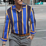 Fashion Business Striped Shirt Men Long Sleeve Brand 2019 Lapel Button Up High Street Vacation Casual Shirts Men Camisa