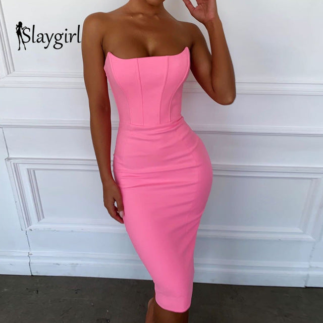 Party Summer Autumn Elegant Dresses Women Off Shoulder Sleeveless Sexy Dresses Club Strapless Midi Dress  Vestidos
