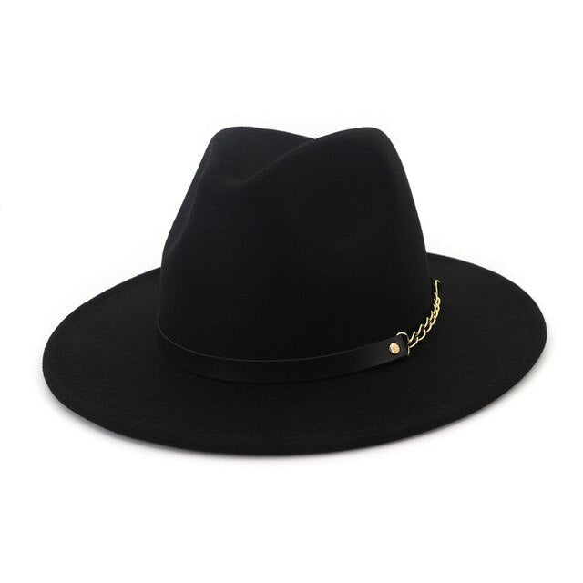Autumn Winter Felt Fedora Hats With Belt Wide Flat Brim Jazz Trilby Formal Top Hat Panama Cap For Unisex Men Women